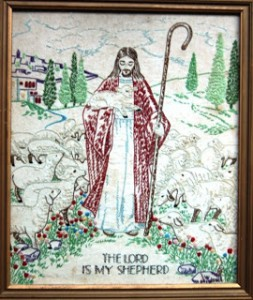 Jesus needlepoint by grandma